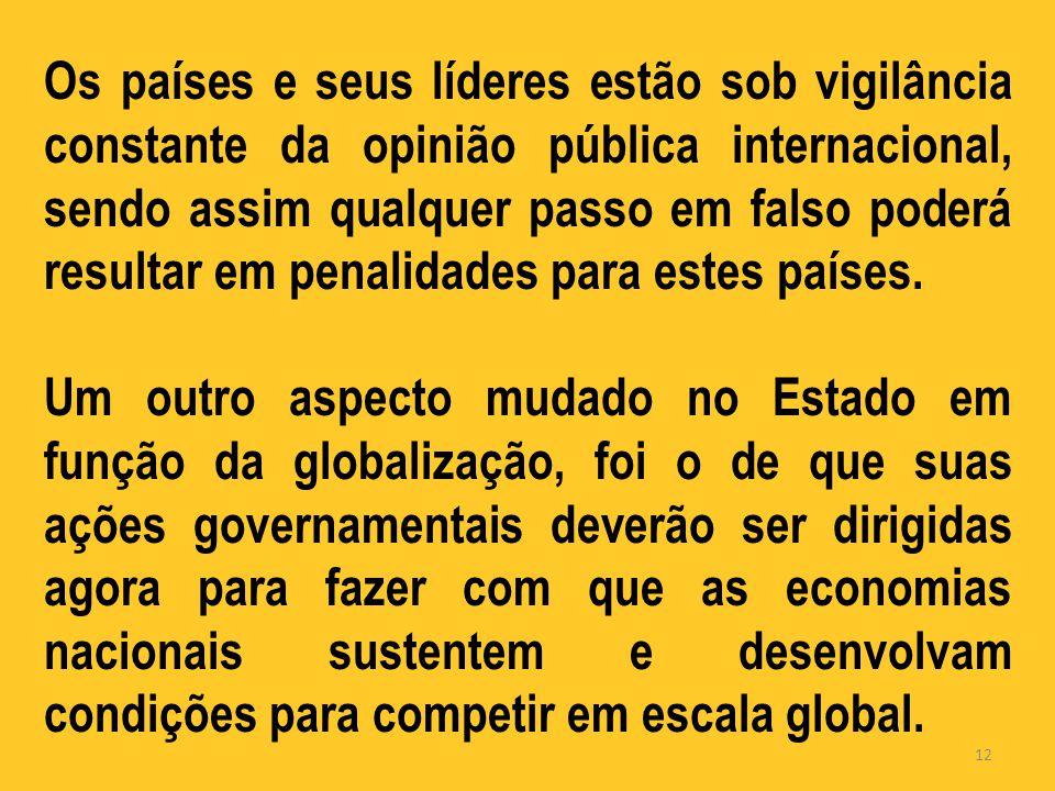 Os países e seus líderes estão sob vigilância constante da opinião pública internacional, sendo assim qualquer passo em falso poderá resultar em penalidades para estes países.