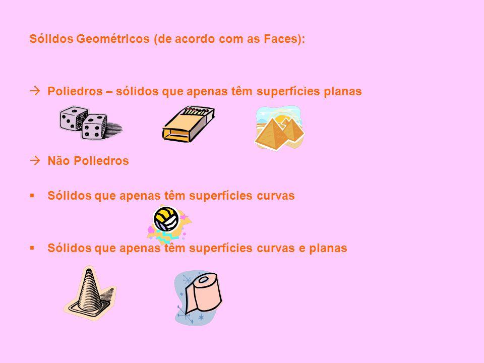 Sólidos Geométricos (de acordo com as Faces):  Poliedros – sólidos que apenas têm superfícies planas  Não Poliedros  Sólidos que apenas têm superfí