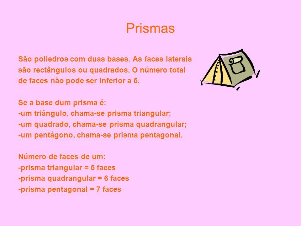 Número de vértices de um prisma – é sempre igual ao dobro do nº de Vértices duma base -prisma triangular = 6 vértices -prisma quadrangular = 8 vértices -prisma pentagonal = 10 vértices Número de arestas de um prisma – é sempre igual ao triplo do nº de arestas de uma base -prisma triangular =9 arestas -prisma quadrangular = 12 arestas -prisma pentagonal = 15 arestas