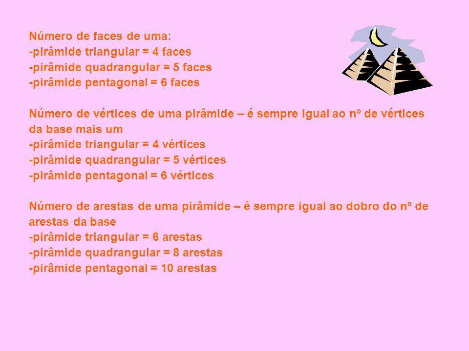 Número de faces de uma: -pirâmide triangular = 4 faces -pirâmide quadrangular = 5 faces -pirâmide pentagonal = 6 faces Número de vértices de uma pirâm