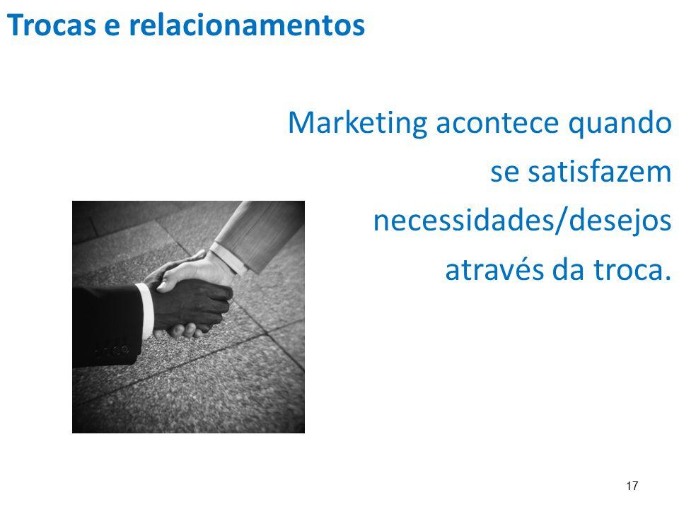 17 Trocas e relacionamentos Marketing acontece quando se satisfazem necessidades/desejos através da troca.