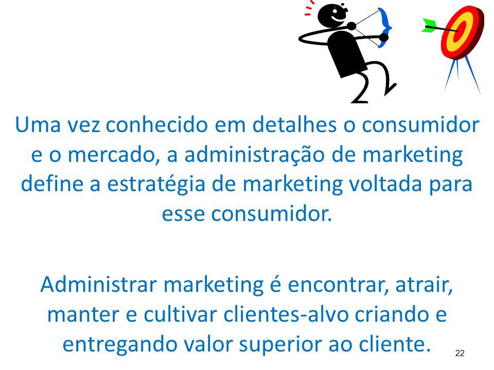 22 Uma vez conhecido em detalhes o consumidor e o mercado, a administração de marketing define a estratégia de marketing voltada para esse consumidor.