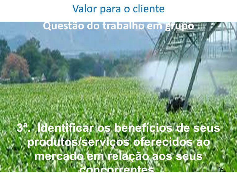 34 Valor para o cliente Questão do trabalho em grupo 3ª. Identificar os benefícios de seus produtos/serviços oferecidos ao mercado em relação aos seus