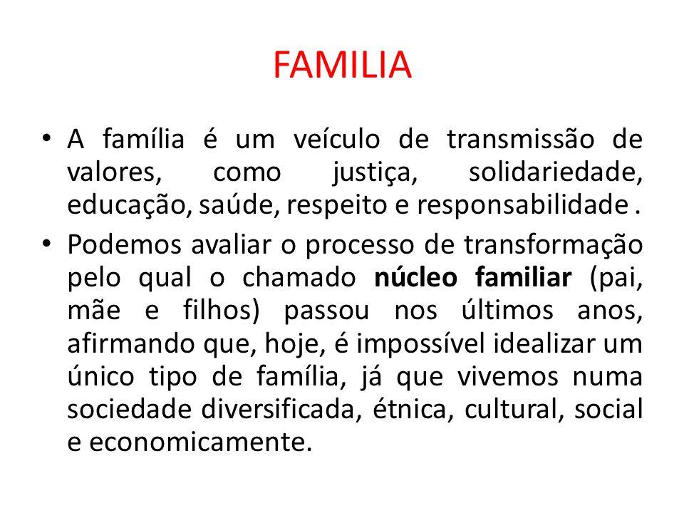 FAMILIA A família é um veículo de transmissão de valores, como justiça, solidariedade, educação, saúde, respeito e responsabilidade. Podemos avaliar o