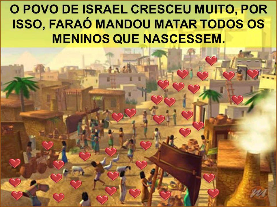 O POVO DE ISRAEL CRESCEU MUITO, POR ISSO, FARAÓ MANDOU MATAR TODOS OS MENINOS QUE NASCESSEM. 3