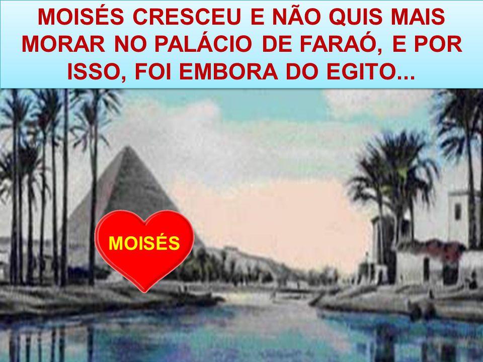 MOISÉS CRESCEU E NÃO QUIS MAIS MORAR NO PALÁCIO DE FARAÓ, E POR ISSO, FOI EMBORA DO EGITO... MOISÉS
