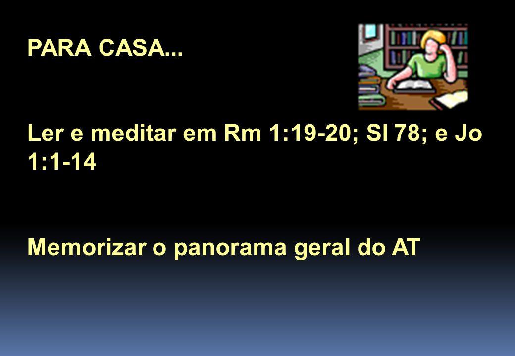 PARA CASA... Ler e meditar em Rm 1:19-20; Sl 78; e Jo 1:1-14 Memorizar o panorama geral do AT