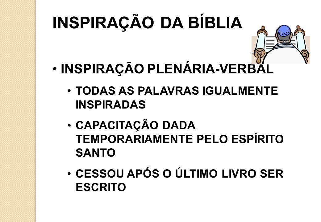 INSPIRAÇÃO DA BÍBLIA INSPIRAÇÃO PLENÁRIA-VERBAL TODAS AS PALAVRAS IGUALMENTE INSPIRADAS CAPACITAÇÃO DADA TEMPORARIAMENTE PELO ESPÍRITO SANTO CESSOU APÓS O ÚLTIMO LIVRO SER ESCRITO