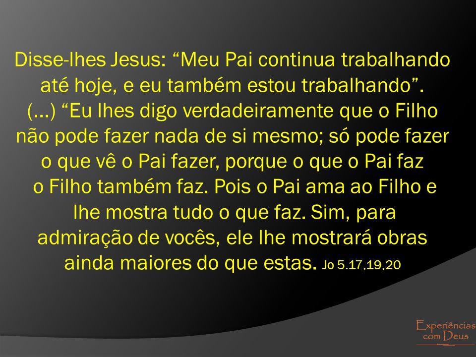 """Disse-lhes Jesus: """"Meu Pai continua trabalhando até hoje, e eu também estou trabalhando"""". (...) """"Eu lhes digo verdadeiramente que o Filho não pode faz"""