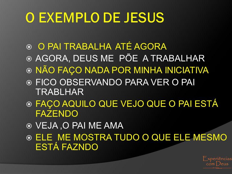 O EXEMPLO DE JESUS  O PAI TRABALHA ATÉ AGORA  AGORA, DEUS ME PÕE A TRABALHAR  NÃO FAÇO NADA POR MINHA INICIATIVA  FICO OBSERVANDO PARA VER O PAI T