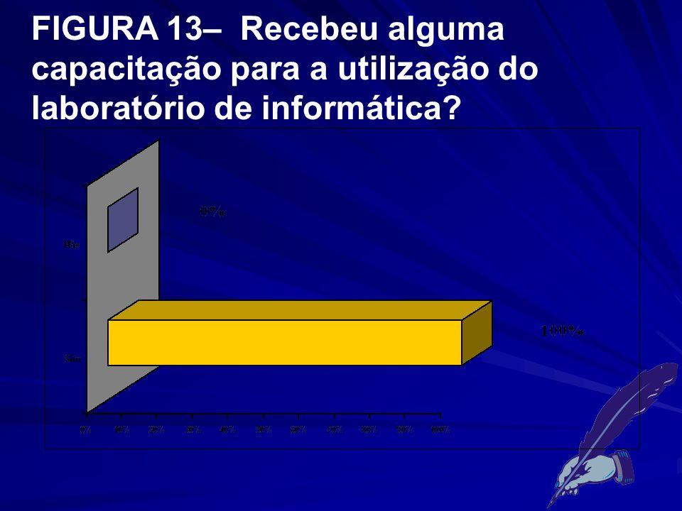 FIGURA 13– Recebeu alguma capacitação para a utilização do laboratório de informática?