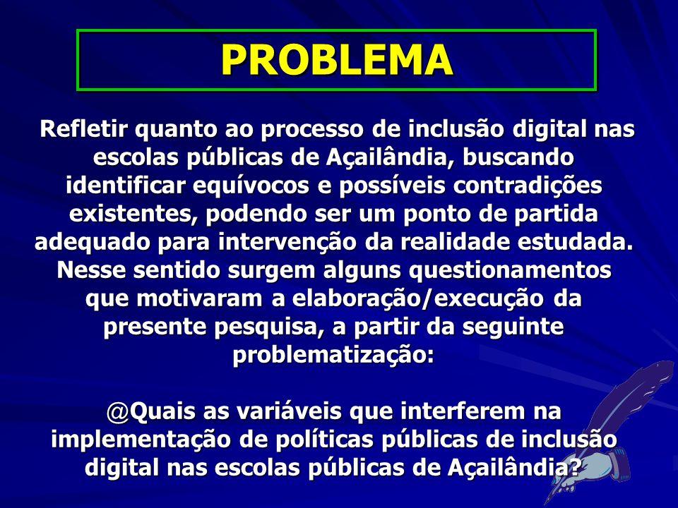 Analisar o processo de implementação de políticas governamentais de inclusão digital nas escolas públicas de Açailândia.