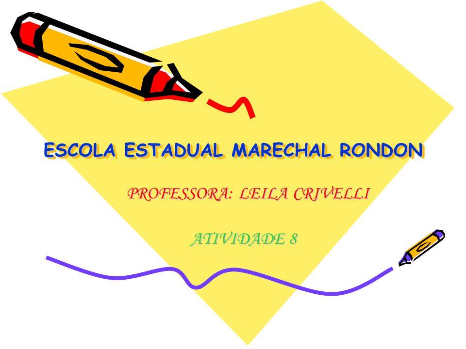 ESCOLA ESTADUAL MARECHAL RONDON ATIVIDADE 8 PROFESSORA: LEILA CRIVELLI