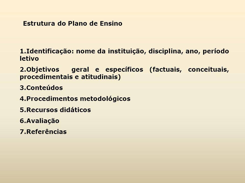 Estrutura do Plano de Ensino 1.Identificação: nome da instituição, disciplina, ano, período letivo 2.Objetivos geral e específicos (factuais, conceitu