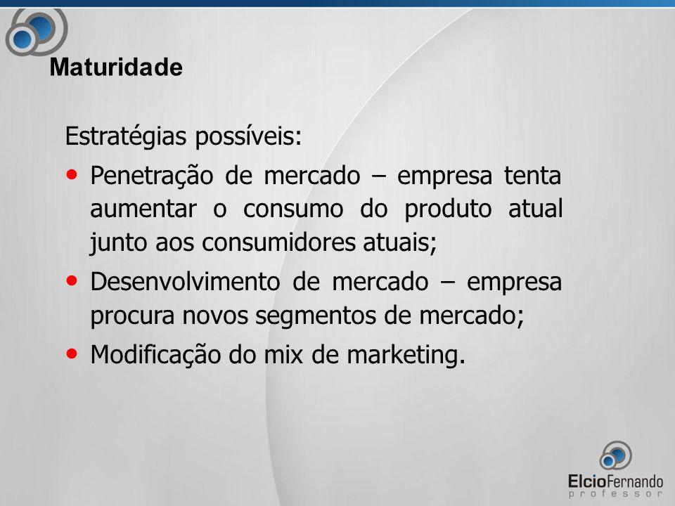 Estratégias possíveis: Penetração de mercado – empresa tenta aumentar o consumo do produto atual junto aos consumidores atuais; Desenvolvimento de mercado – empresa procura novos segmentos de mercado; Modificação do mix de marketing.