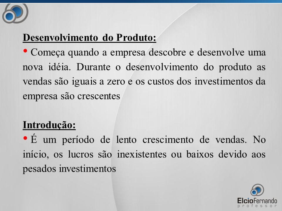 Desenvolvimento do Produto: Começa quando a empresa descobre e desenvolve uma nova idéia.