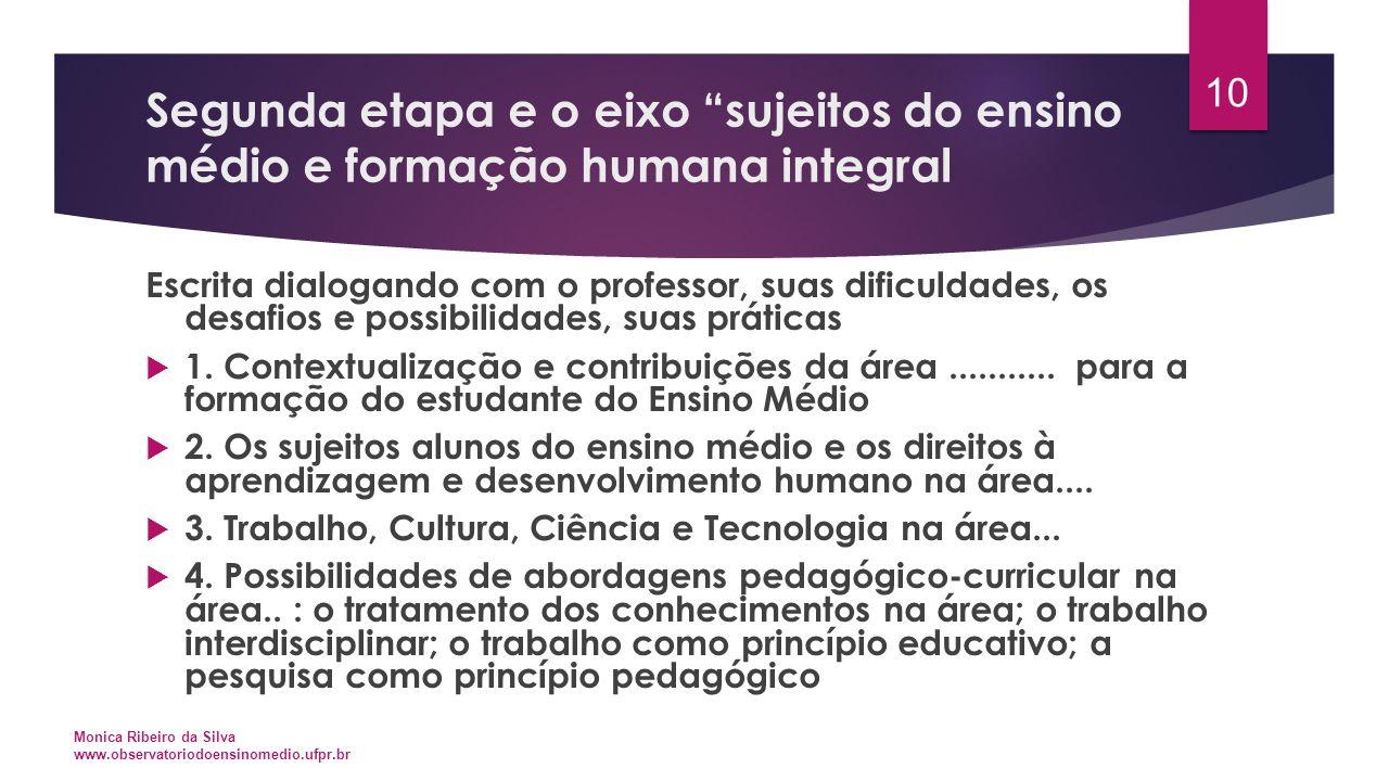 """Segunda etapa e o eixo """"sujeitos do ensino médio e formação humana integral Escrita dialogando com o professor, suas dificuldades, os desafios e possi"""