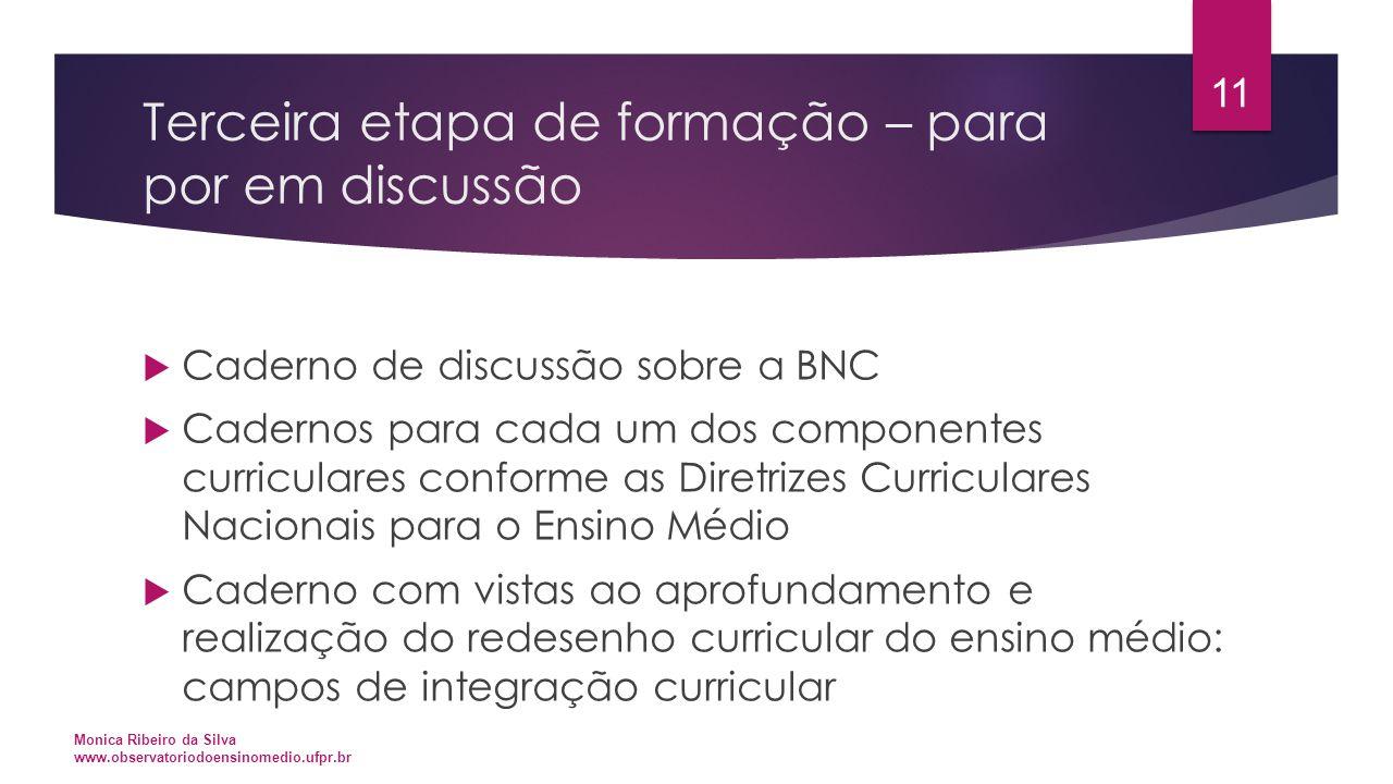Terceira etapa de formação – para por em discussão  Caderno de discussão sobre a BNC  Cadernos para cada um dos componentes curriculares conforme as