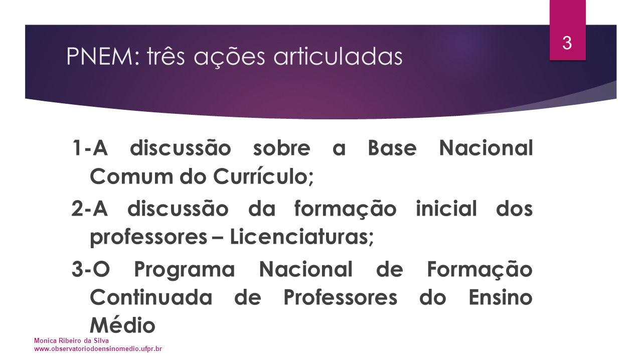 PNEM: Fundamentos legais  DIRETRIZES CURRICULARES NACIONAIS PARA O ENSINO MÉDIO  META 3 DO PLANO NACIONAL DE EDUCAÇÃO  A EMENDA CONSTITUCIONAL 59/2009  A LDB 9394/96 Monica Ribeiro da Silva www.observatoriodoensinomedio.ufpr.br 4