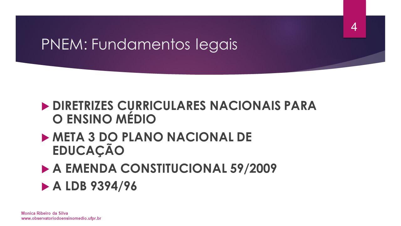 PNEM: Fundamentos legais  DIRETRIZES CURRICULARES NACIONAIS PARA O ENSINO MÉDIO  META 3 DO PLANO NACIONAL DE EDUCAÇÃO  A EMENDA CONSTITUCIONAL 59/2