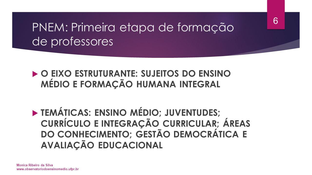 PNEM: Primeira etapa de formação de professores  O EIXO ESTRUTURANTE: SUJEITOS DO ENSINO MÉDIO E FORMAÇÃO HUMANA INTEGRAL  TEMÁTICAS: ENSINO MÉDIO;
