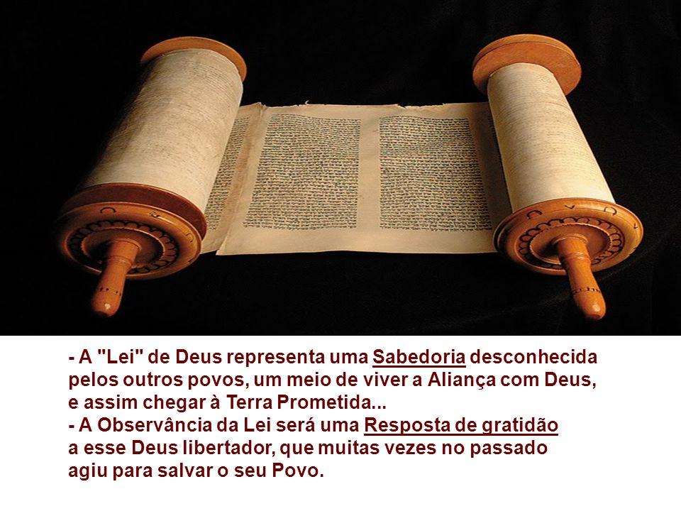 Na 1ª Leitura, o Povo de Deus recebe a LEI. (Dt 4,1-2.6-8) No final da vida, antes de entrar na Terra Prometida, MOISÉS deixa um