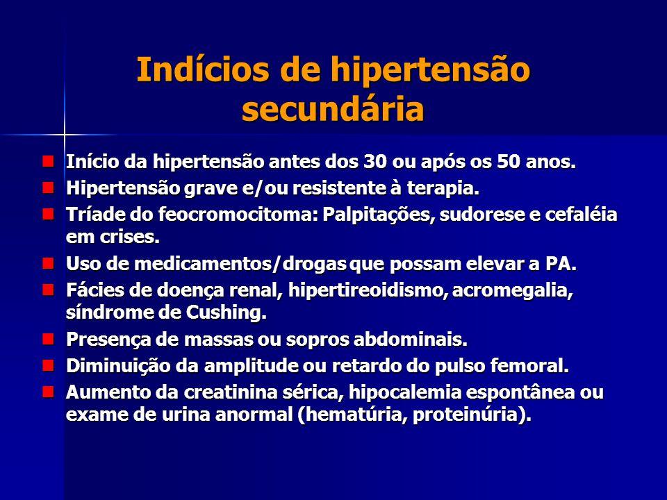 Indícios de hipertensão secundária Início da hipertensão antes dos 30 ou após os 50 anos. Início da hipertensão antes dos 30 ou após os 50 anos. Hiper