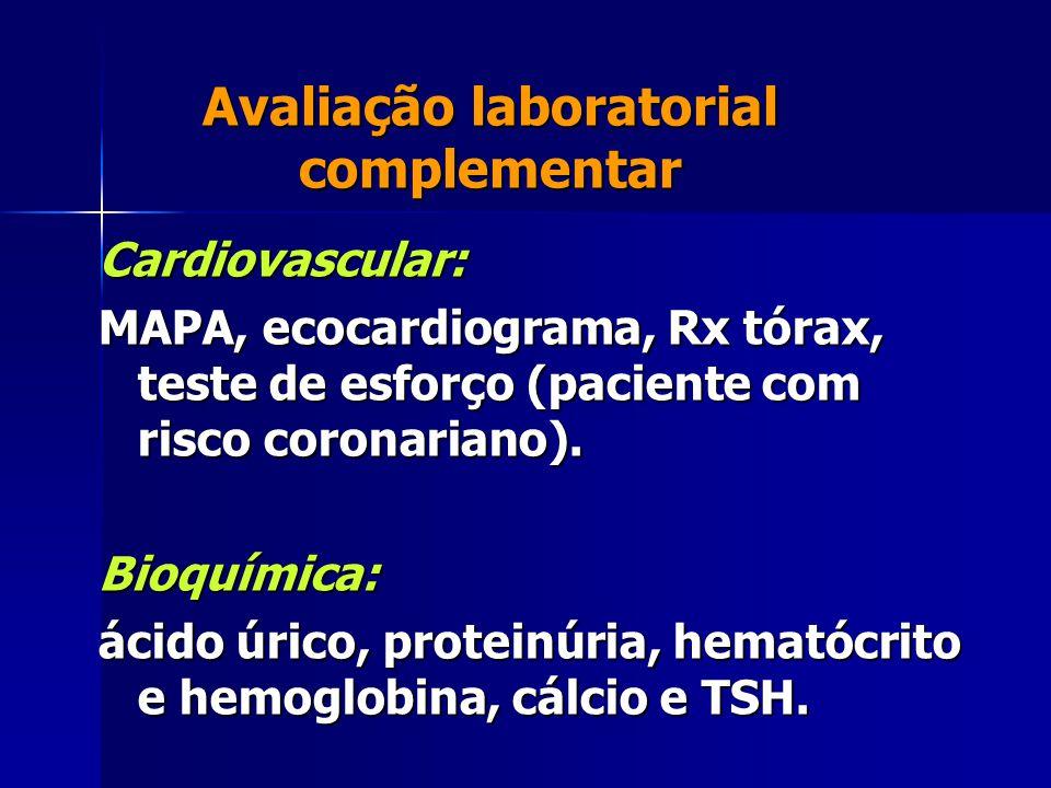 Avaliação laboratorial complementar Cardiovascular: MAPA, ecocardiograma, Rx tórax, teste de esforço (paciente com risco coronariano). Bioquímica: áci