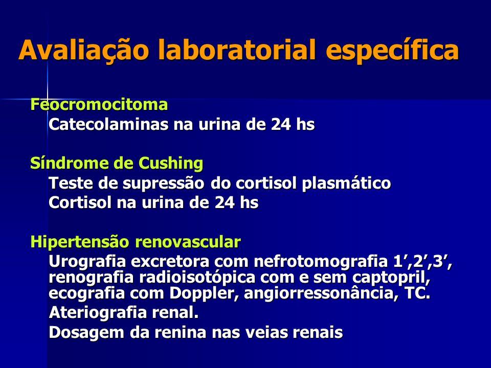 Avaliação laboratorial específica Feocromocitoma Catecolaminas na urina de 24 hs Síndrome de Cushing Teste de supressão do cortisol plasmático Cortisol na urina de 24 hs Hipertensão renovascular Urografia excretora com nefrotomografia 1',2',3', renografia radioisotópica com e sem captopril, ecografia com Doppler, angiorressonância, TC.