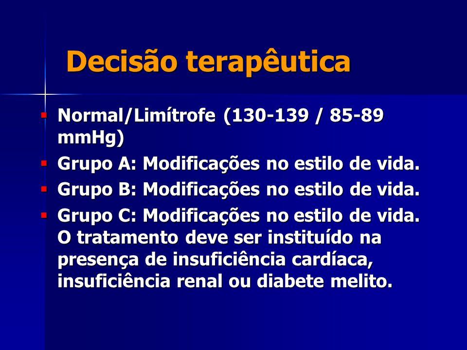 Decisão terapêutica  Normal/Limítrofe (130-139 / 85-89 mmHg)  Grupo A: Modificações no estilo de vida.  Grupo B: Modificações no estilo de vida. 