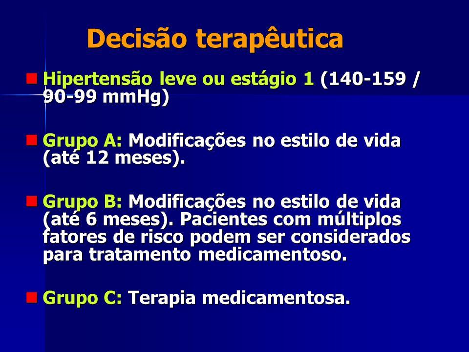 Decisão terapêutica Hipertensão leve ou estágio 1 (140-159 / 90-99 mmHg) Hipertensão leve ou estágio 1 (140-159 / 90-99 mmHg) Grupo A: Modificações no estilo de vida (até 12 meses).