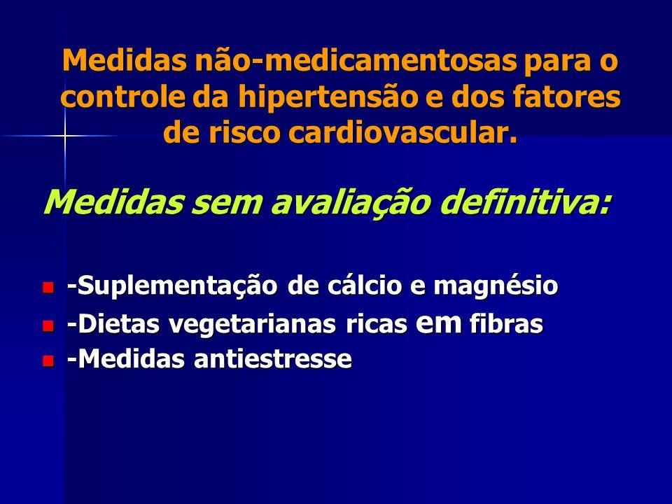 Medidas não-medicamentosas para o controle da hipertensão e dos fatores de risco cardiovascular. Medidas sem avaliação definitiva: -Suplementação de c