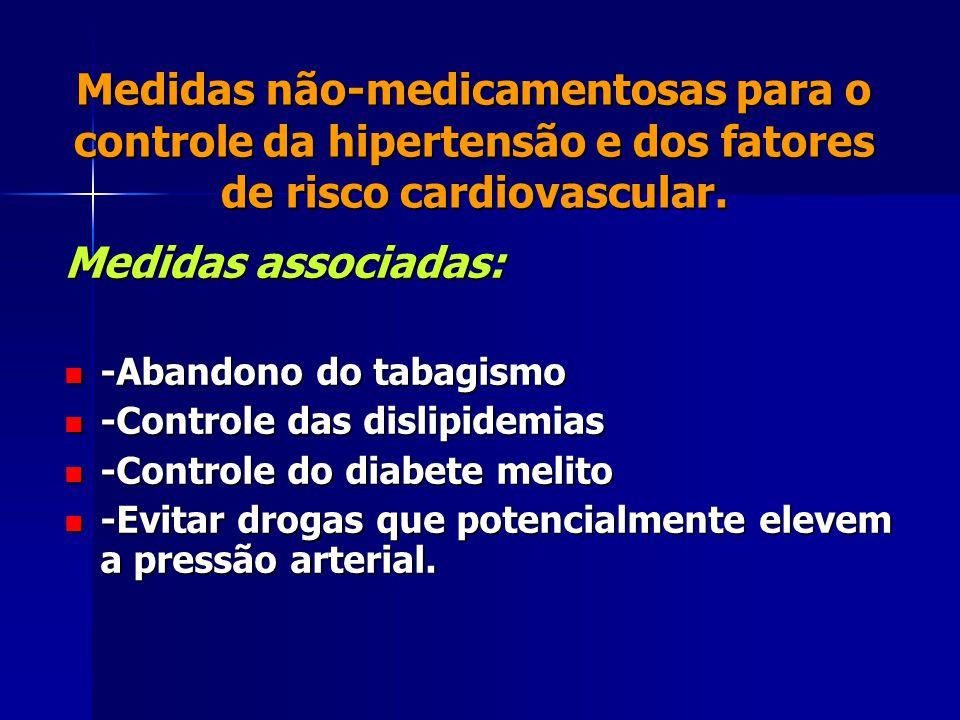 Medidas não-medicamentosas para o controle da hipertensão e dos fatores de risco cardiovascular. Medidas associadas: -Abandono do tabagismo -Abandono