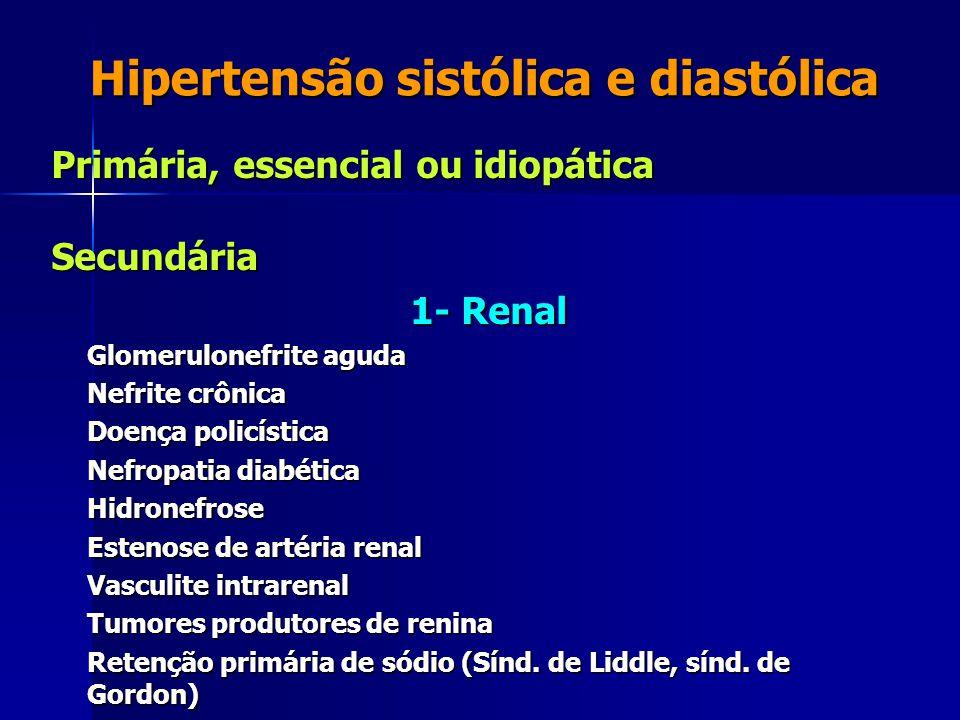 Hipertensão sistólica e diastólica Primária, essencial ou idiopática Secundária 1- Renal 1- Renal Glomerulonefrite aguda Nefrite crônica Doença policí
