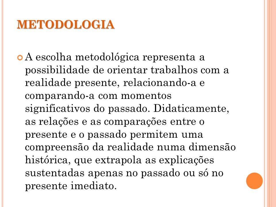 METODOLOGIA A escolha metodológica representa a possibilidade de orientar trabalhos com a realidade presente, relacionando-a e comparando-a com momentos significativos do passado.