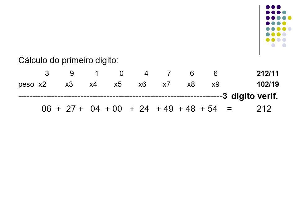 Cálculo do primeiro digito: 3 9 1 0 4 7 6 6 212/11 peso x2 x3 x4 x5 x6 x7 x8 x9102/19 ----------------------------------------------------------------