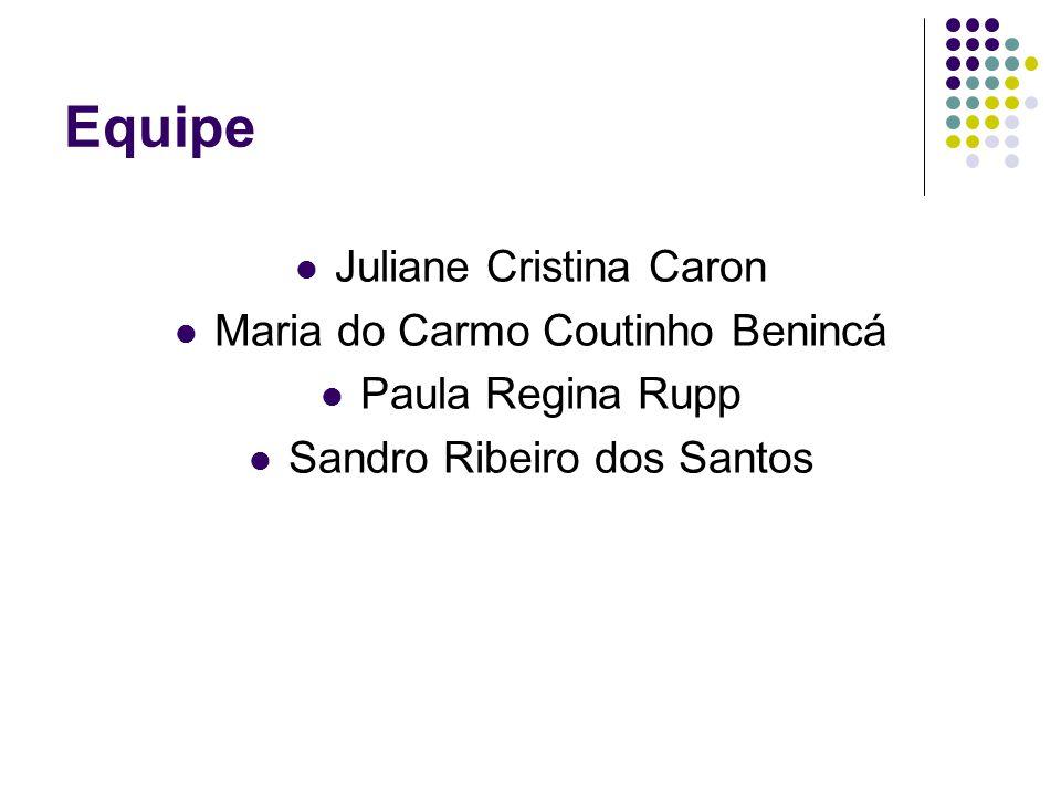 Equipe Juliane Cristina Caron Maria do Carmo Coutinho Benincá Paula Regina Rupp Sandro Ribeiro dos Santos