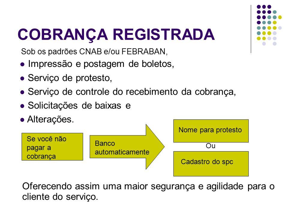 COBRANÇA REGISTRADA Sob os padrões CNAB e/ou FEBRABAN, Oferecendo assim uma maior segurança e agilidade para o cliente do serviço. Impressão e postage