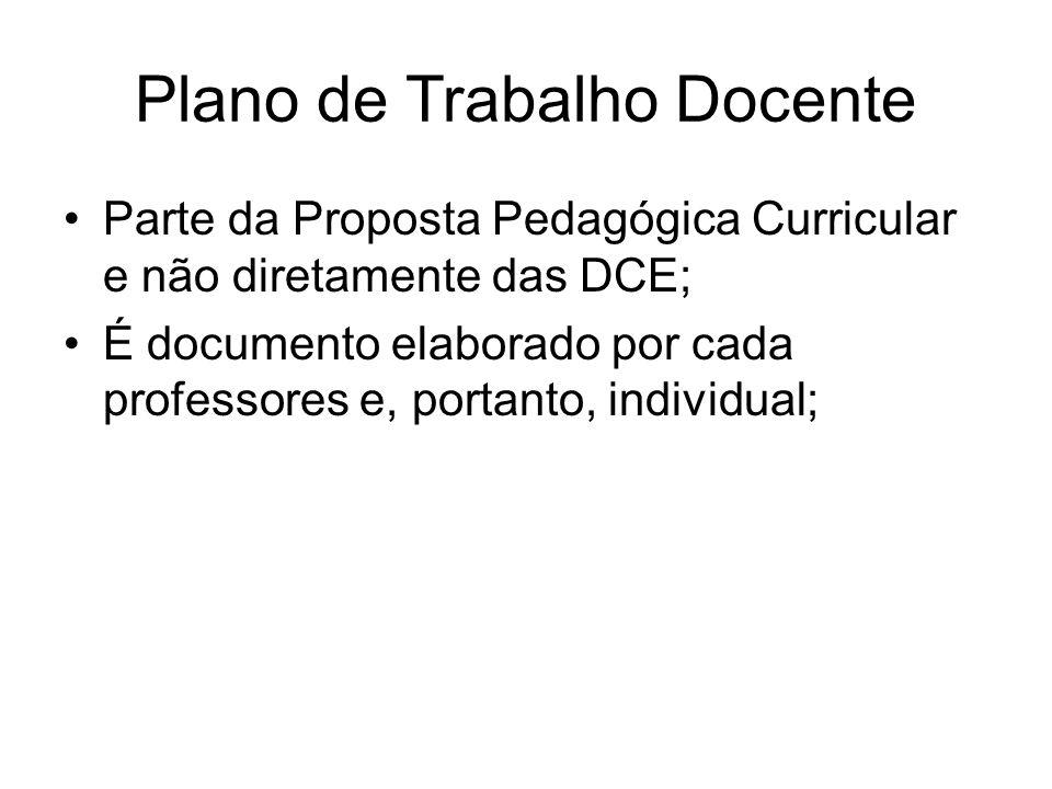 Plano de Trabalho Docente Parte da Proposta Pedagógica Curricular e não diretamente das DCE; É documento elaborado por cada professores e, portanto, i