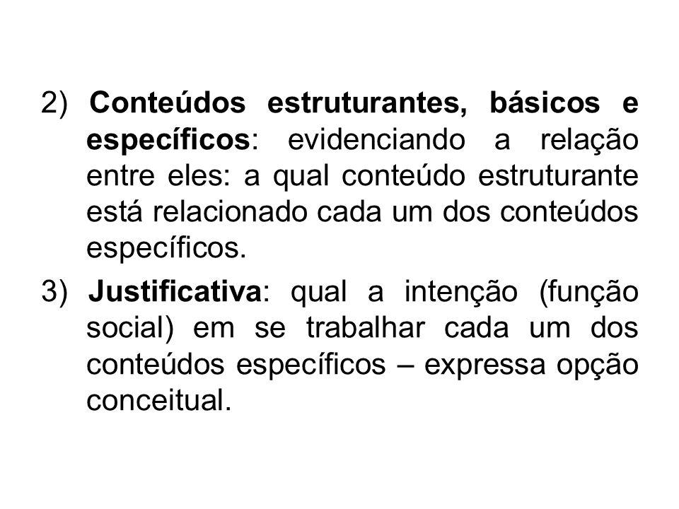 2) Conteúdos estruturantes, básicos e específicos: evidenciando a relação entre eles: a qual conteúdo estruturante está relacionado cada um dos conteú