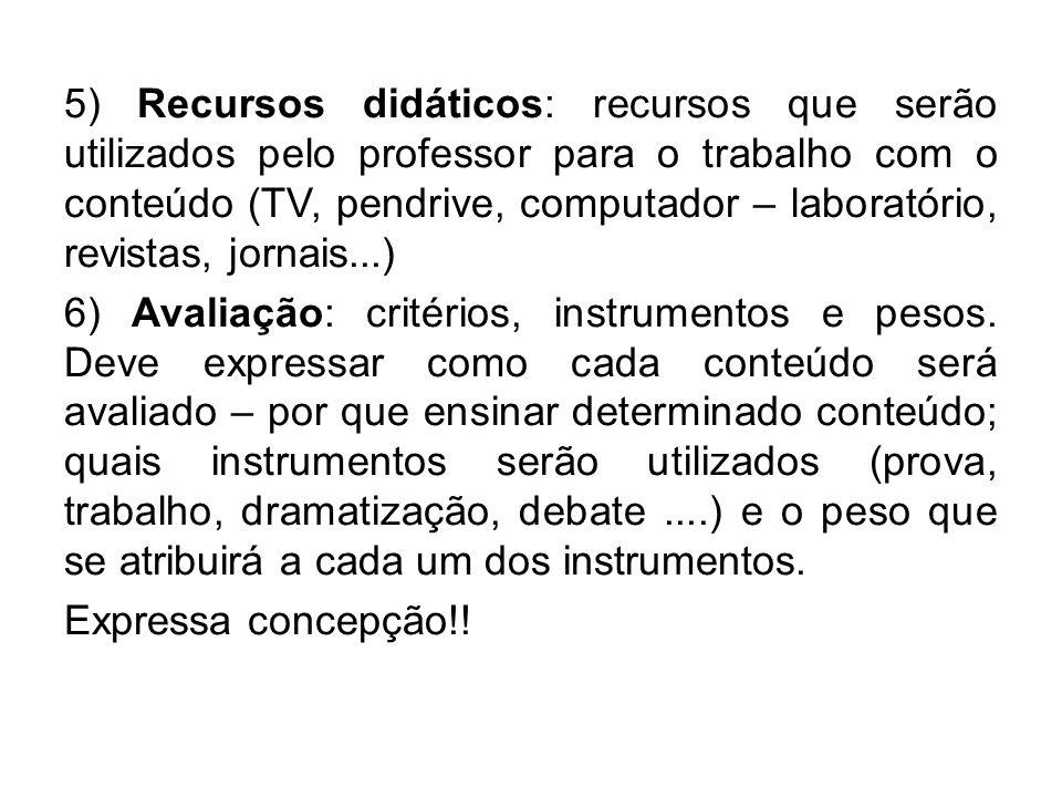 5) Recursos didáticos: recursos que serão utilizados pelo professor para o trabalho com o conteúdo (TV, pendrive, computador – laboratório, revistas,