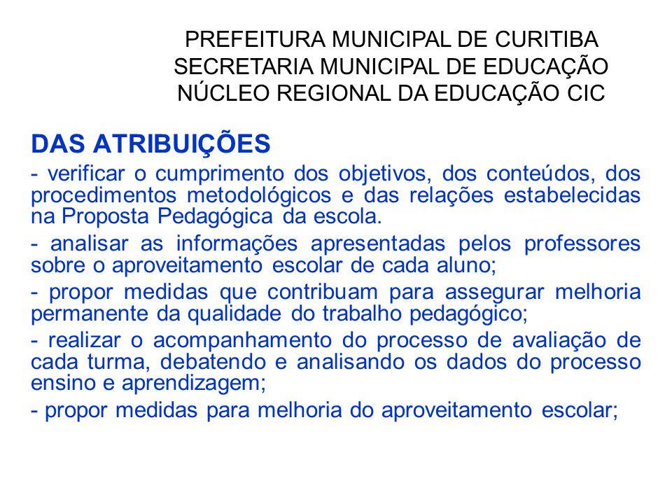 DAS ATRIBUIÇÕES - verificar o cumprimento dos objetivos, dos conteúdos, dos procedimentos metodológicos e das relações estabelecidas na Proposta Pedagógica da escola.