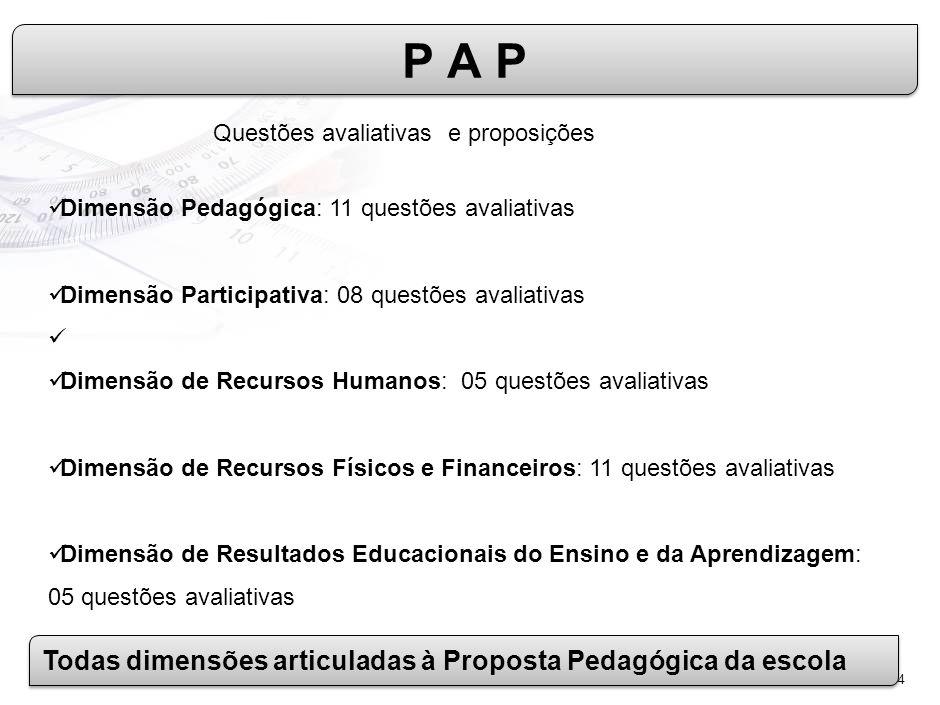 4 Dimensão Pedagógica: 11 questões avaliativas Dimensão Participativa: 08 questões avaliativas Dimensão de Recursos Humanos: 05 questões avaliativas Dimensão de Recursos Físicos e Financeiros: 11 questões avaliativas Dimensão de Resultados Educacionais do Ensino e da Aprendizagem: 05 questões avaliativas P A P Questões avaliativas e proposições Todas dimensões articuladas à Proposta Pedagógica da escola