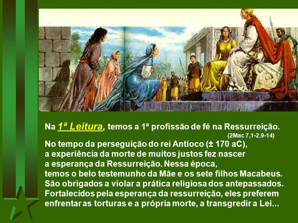 Na 1ª Leitura, temos a 1ª profissão de fé na Ressurreição.
