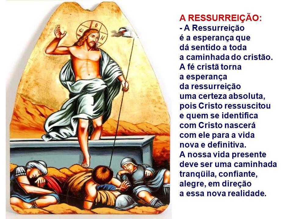 A RESSURREIÇÃO: - A Ressurreição é a esperança que dá sentido a toda a caminhada do cristão.