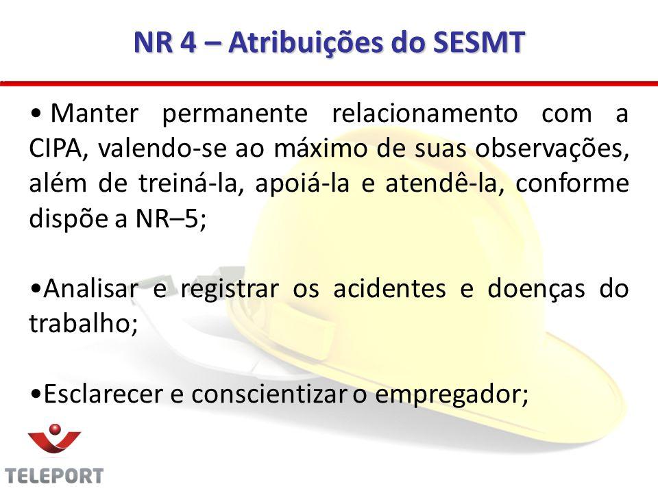 NR 4 – Atribuições do SESMT Manter permanente relacionamento com a CIPA, valendo-se ao máximo de suas observações, além de treiná-la, apoiá-la e atend