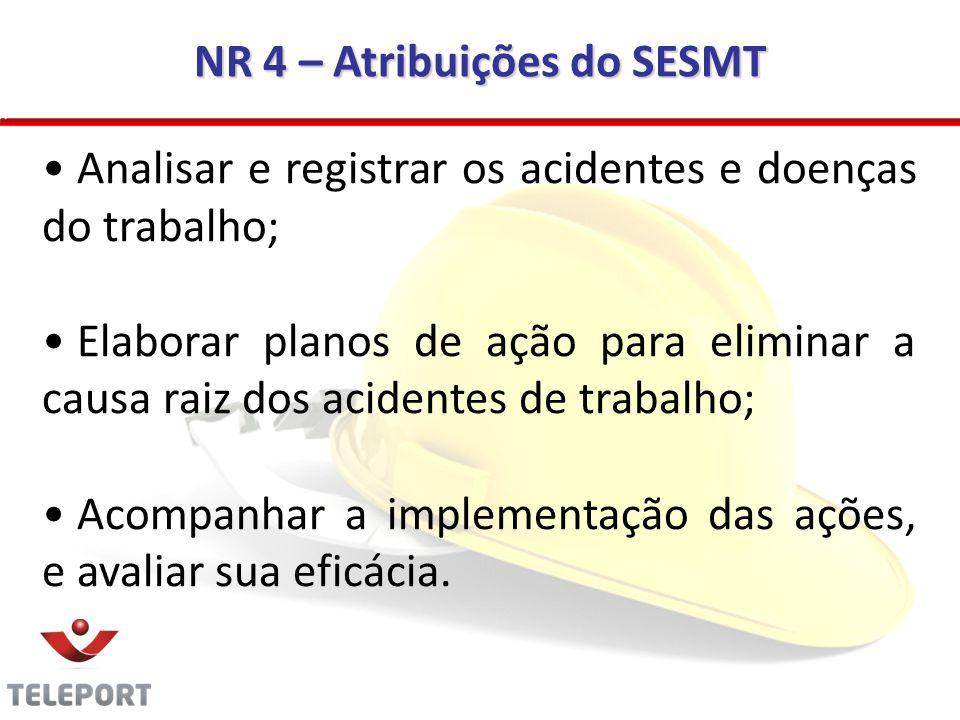 NR 4 – Atribuições do SESMT Analisar e registrar os acidentes e doenças do trabalho; Elaborar planos de ação para eliminar a causa raiz dos acidentes