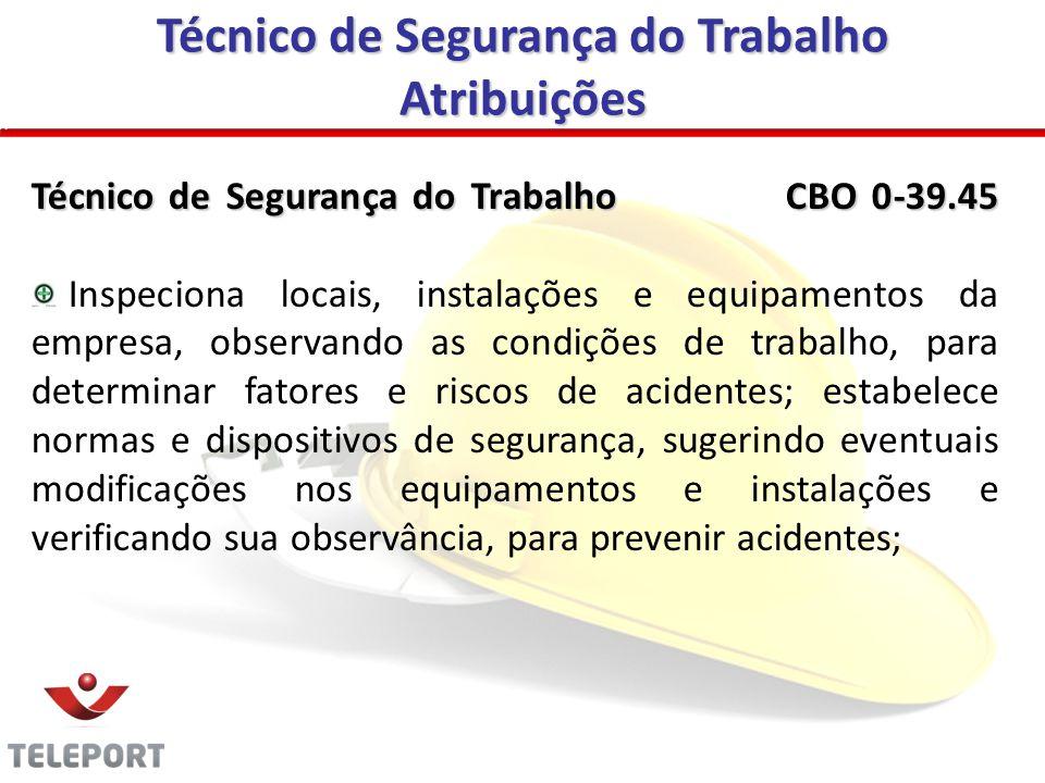 Técnico de Segurança do Trabalho Atribuições Técnico de Segurança do Trabalho CBO 0-39.45 Inspeciona locais, instalações e equipamentos da empresa, ob