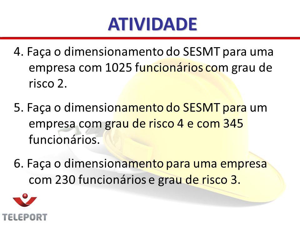ATIVIDADE 4. Faça o dimensionamento do SESMT para uma empresa com 1025 funcionários com grau de risco 2. 5. Faça o dimensionamento do SESMT para um em