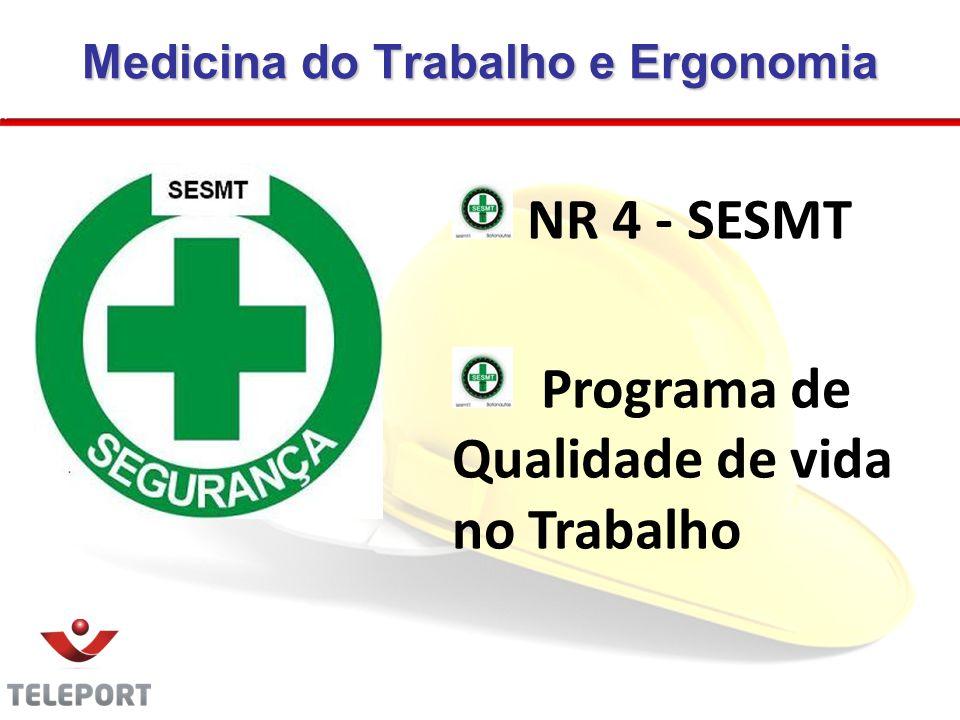 Medicina do Trabalho e Ergonomia NR 4 - SESMT Programa de Qualidade de vida no Trabalho 03